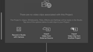 Video, audio, and other files can be imported, and you can record right in Studio.