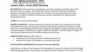 Lesson plans use primary documents to explore issues related to the Revolutionary War.