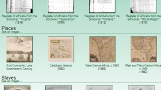 Hundreds of primary source images are organized by category: manuscripts, places, slaves, and vessels.