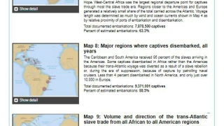 Introductory maps and paragraphs orient students to the ports and paths of the slave trade.