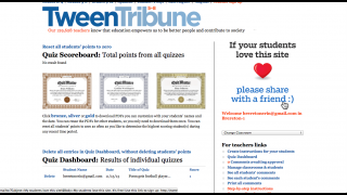 Teachers can view individual student quiz scores, monitor and approve student comments, and print out quiz reward certificates on the site.