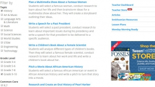 Browse lesson plans by topic, grade level, Common Core standard, or lesson type.