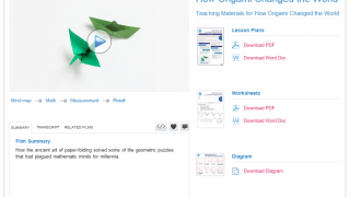 Math videos are laid out so lesson plans, worksheets, and supporting diagrams are readily available.