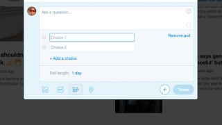 When composing a tweet, you can add up to 280 characters, 4 photos, a video, or a GIF, or create a poll.