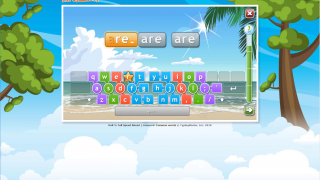 More advanced students begin to type words; the keyboard is now divided differently.