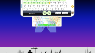 Students type the letters on the upper screen as they follow along with the keyboard in the middle.