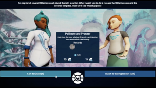 Talk to various characters to find out what they need help with and accept quests.