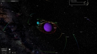 It's easy to change visualization settings in Universe Sandbox. Here, Saturn and its moons are color-coded based on their velocities.