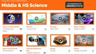 Flocabulary offers options for major science content – most are songs; a few are videos.