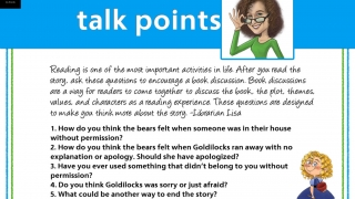 "Most stories end with ""talk points"" for discussion and reflection."