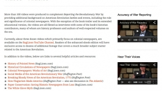 Links are included to videos and early newspaper articles about the American Revolution.