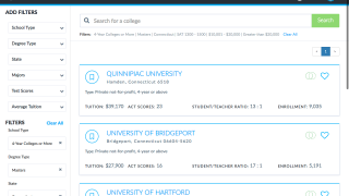College searches are available to match students with potential schools.