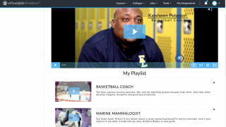 The playlist feature lets students curate career exploration videos based on their interests.