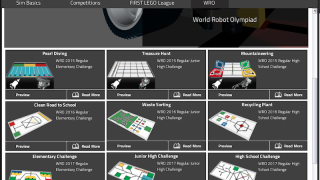 The simulator also includes challenges from previous World Robot Olympiad competitions.