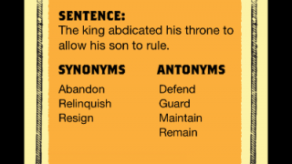 Definitions include pronounication, synonyms, antonyms and a sample sentence.