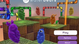 In the game, players divert, combine, and separate colored water, bringing it to water bears.