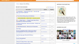 The discussion boards offer lively community, and some discuss the writing process.