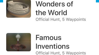 Waypoint EDU comes with Wonders of the World and Inventions hunts, or you can create your own.