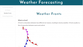 Kids can read text about all kinds of weather topics.