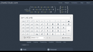 Systems of equations can be solved using the scientific calculator.