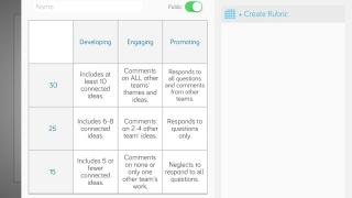Assess assignments in-app by tapping the rubric.