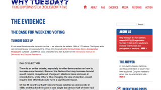 Users can explore info about fair voting rights practices on the Evidence page.