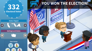 If you gain 270 or more electoral votes by the end of the game, you win the election!