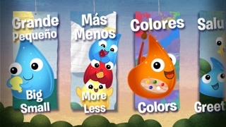 Kids can choose which word banks to learn in Spanish.