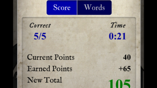 Stats shows time spent on quest, scores, and links to word lists.