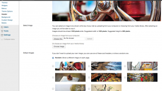 Themes can be customized with built-in header images or by uploading your own.