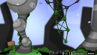 A goo ball structure reaches down to collect sleeping goo balls; while the hovering TimeBugs allow you to undo.