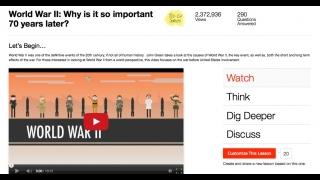 Videos include resources housed under the Watch, Think, Discuss, and Dig Deeper sections.