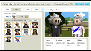 Easy-to-use interface guides kids as they choose the set, actors, and sounds for their animation.