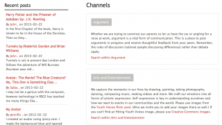 Multiple channels feature writing along various topic strands.