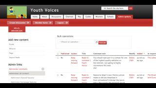 The administrative dashboard lets teachers edit or delete content and create channels.