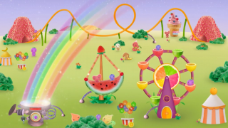 After kids have collected foods from all of the colorson the color wheel, they can power up the carnival and celebrate health.