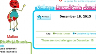 The goal chart allows kids to set goals and keep track of their progress.