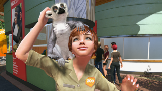 The ground level zoo view lets players move around as a zoo keeper and interact with exhibits and some animals.