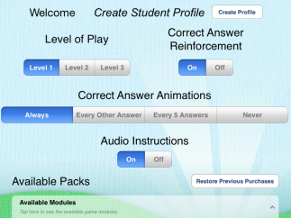 There are settings to help meet students at different levels.