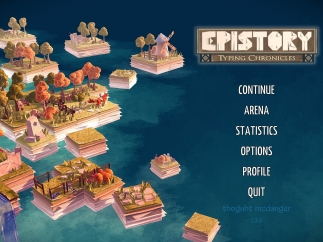 Epistory's start screen, where players can gain access to their current stats or enter an Arena game.