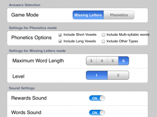 Settings help parents and teachers customize the learning process.