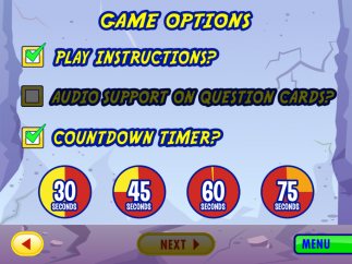 Choose from timed questions or audio narration.