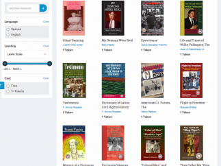 The Qlovi book store is searchable by language, keyword, and reading level.