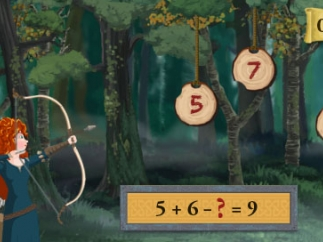 To help Merida in her target practice, kid do some math questions.