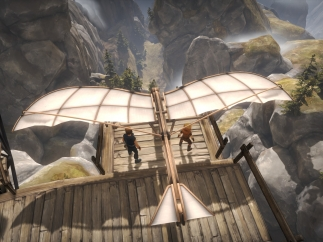 The brothers have to jointly fly a glider across a chasm.