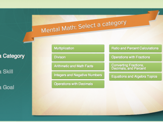 FlexMath includes mental math lessons with a variety of operations.