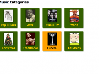 Sheet music is also listed by genre.