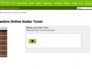 Guitarists can adjust their instrument using the site's interactive guitar tuner.