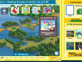 """The """"Wetlands"""" learning path invokes reading-related activities about a wetlands environment."""