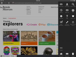 Bookmark, search, and share content using features in the settings menu.